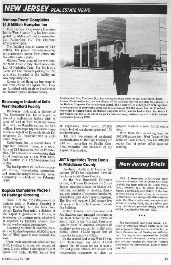 News Photo 4  Firm News 1.2.3 - Focus Article Atrium III & IV, 6.15.88 corrected